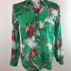 Talbots Petites Jungle Print Top Shirt Blouse SZ S